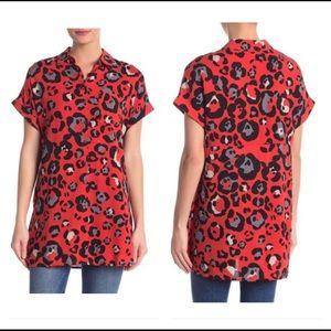 Red black leopard camo vintage short sleeve tunic